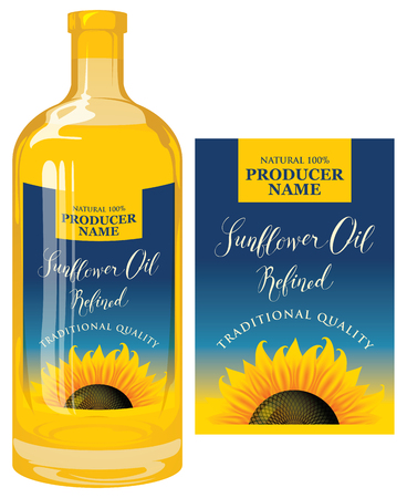 Vector label for refined sunflower oil with sunflower and calligraphic handwritten inscription on blue gradient background. Template label for sunflower oil on glass bottle in retro style.