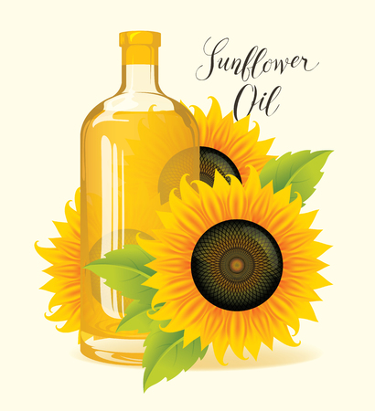 Bottle of sunflower oil with ripe sunflowers and green leaves. Vector illustration or banner with handwritten inscription.