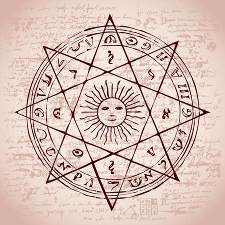 Illustration of the sun in an octagonal star with magical inscriptions and symbols on the background of an old papyrus or manuscript with spots. Vector banner in retro style