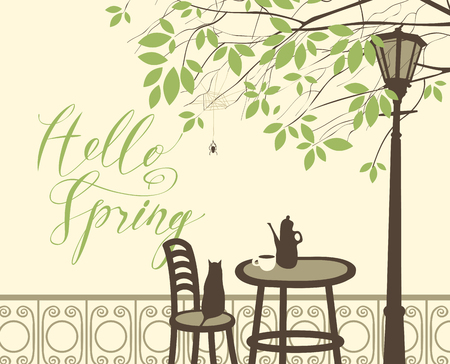 Vector landscape with a handwritten lettering Hello Spring. Street cafe with tea or coffee on the table, cat on the chair under the branches of a tree with green leaves and the spider in the cobweb. Ilustração
