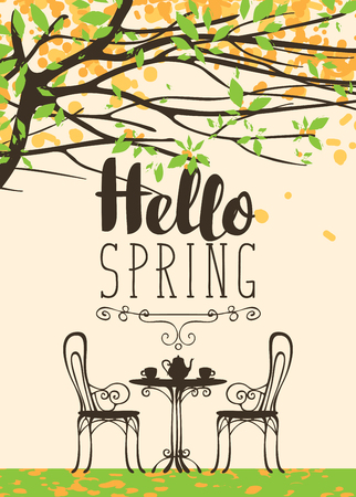Vector landscape with the inscription Hello Spring in retro style. Outdoor cafe furniture, tea table covered for two with two cups and a teapot under blooming tree with green leaves and yellow flowers