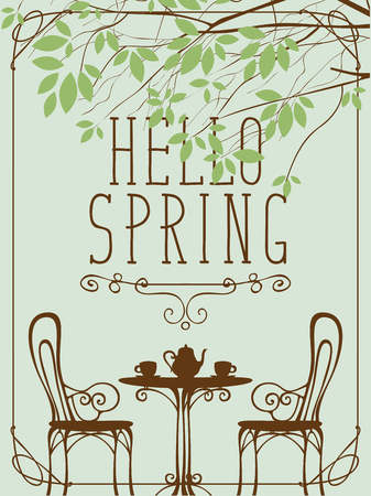 Vector landscape with the inscription Hello Spring in retro style in frame with curls. Outdoor cafe furniture, tea table covered for two with two cups and a teapot under tree with green leaves