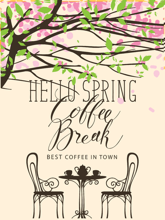 Vector spring landscape at the coffee theme in a retro style. Handwritten inscription Coffee Break and a table for two under the branches of a blossom tree with pink flowers