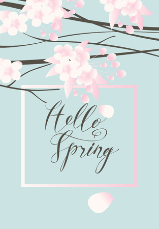 Vector greeting card with a spring landscape with leaves, buds and flowers on the branches of a blooming tree and a handwritten inscription Hello Spring in a frame on the background of blue sky