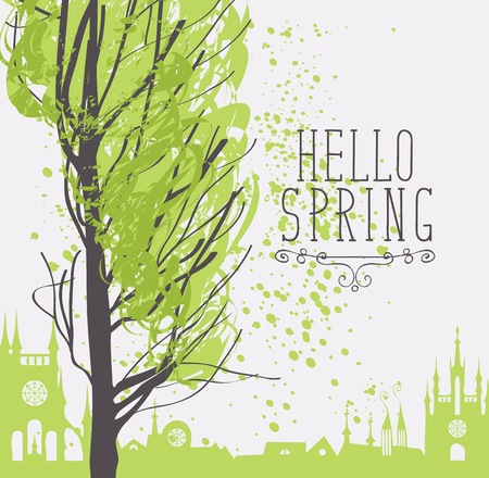 Vector urban landscape in retro style on the theme of spring with words Hello Spring, a tree with young green leaves on the background of the old European city. Illustration
