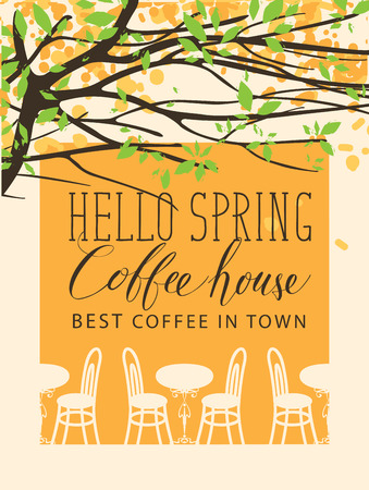 Vector banner for coffee house with the words Hello Spring in retro style. Outdoor cafe furniture under blooming tree with green leaves and yellow flowers.