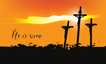 Vector Easter banner with handwritten inscriptions He is risen, with mount Calvary and crosses at sunset Illustration