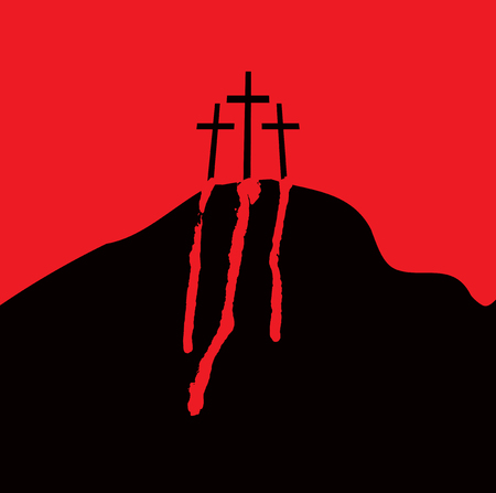 Vector banner with mount Calvary and crosses and drops of blood