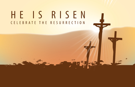 Vector banner for Easter or good Friday ith the words He is risen. Landscape on a religious theme with three crosses with crucified people at sunset in grunge style