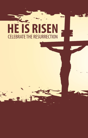 Vector banner for Easter or good Friday with words He is risen. The landscape on the religious theme with the silhouette of the cross with the crucifix