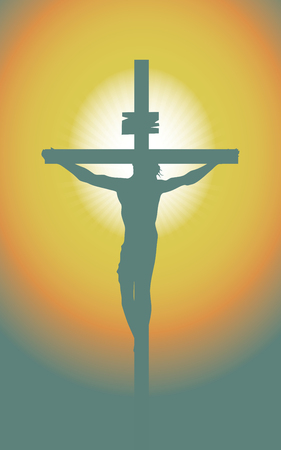 Vector illustration on religious theme depicting a silhouette of a cross with crucified Jesus Christ in the sunset. Banner for Easter or good Friday Stock Illustratie