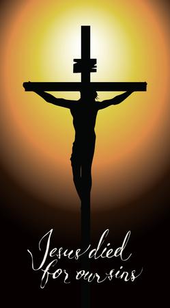 Banner vettoriale per Pasqua o il Venerdì Santo con iscrizioni scritte a mano Gesù è morto per i nostri peccati. Illustrazione sul tema religioso con una silhouette di una croce con Gesù Cristo crocifisso al tramonto