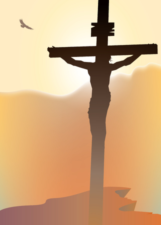 Vector landscape on religious theme with mount Calvary and a silhouette of a cross with crucified Jesus Christ at sunset. Banner for Easter or good Friday Vettoriali