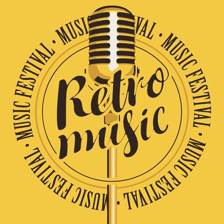 Transparent wektor z mikrofonem, napis Retro muzyka i festiwal muzyczny słowa, napisane na żółtym tle Ilustracje wektorowe
