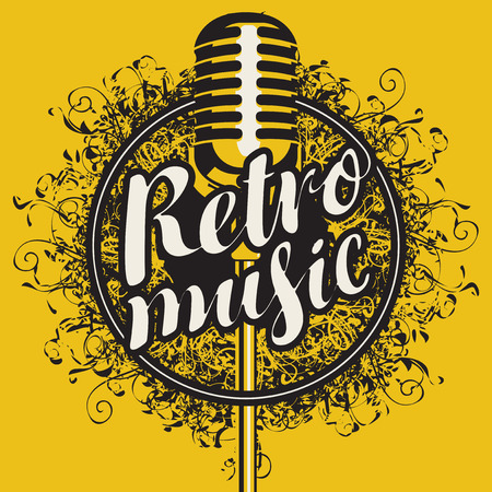 Banner with microphone and calligraphic inscription Retro music on the abstract artistic background with curls