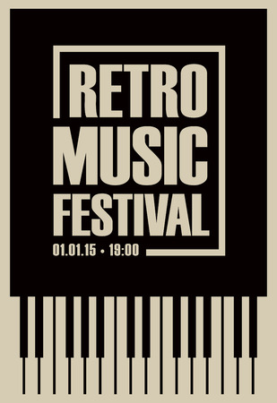 Vector poster for retro music festival with piano keys in retro style on black background