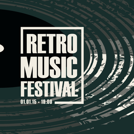 Vector poster for a retro music festival with black vinyl record in grunge style.