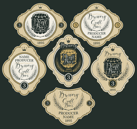 Set of labels with wheat ears, crowns, wooden barrels and handwritten inscriptions in figured frames. Vector labels for craft and draft beer and brewery in retro style Illustration