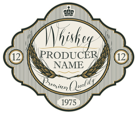Vector label for whiskey in the figured frame with crown, ears of barley and handwritten inscription on striped background in retro style Stock Illustratie