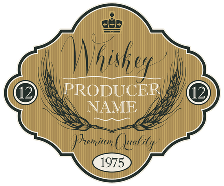 Vector label for whiskey in the figured frame with crown, ears of barley and handwritten inscription on striped background in retro style 向量圖像