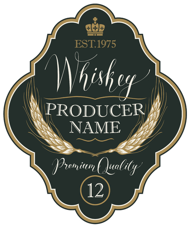 Vector label for whiskey in the figured frame with crown, ears of barley and handwritten inscription on black background in retro style