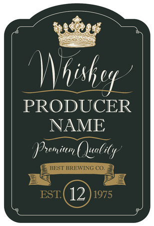 Vector label for whiskey premium quality in the figured frame with crown, ribbon and handwritten inscriptions on black background in retro style
