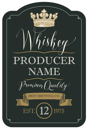 Etichetta vettoriale per whisky di qualità premium nella cornice figurata con corona, nastro e scritte a mano su sfondo nero in stile retrò