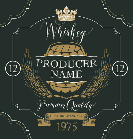 Vector label for whiskey in the figured frame with crown, ears of barley, wooden barrel and handwritten inscription on black background in retro style