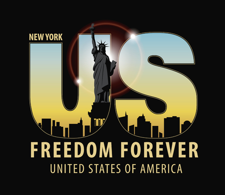 Vector banner with letters US with the image of New York City, Statue of Liberty and the words freedom forever on dark background Ilustração