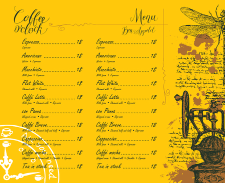 Vector Coffee shop menu with price list with pencil drawing of retro coffee grinder, dragonfly and handwritten inscriptions on the abstract background of old manuscript with spots in retro style