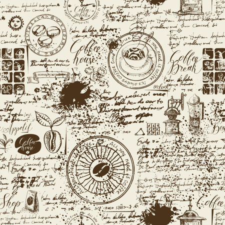Patrón transparente de vector sobre el tema del café con varios símbolos de café, borrones e inscripciones sobre un fondo de manuscrito antiguo en estilo retro. Se puede utilizar como papel tapiz o papel de regalo.