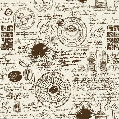 Vektor nahtloses Muster auf dem Kaffeethema mit verschiedenen Kaffeesymbolen, -flecken und -inschriften auf einem Hintergrund des alten Manuskripts im Retro-Stil. Kann als Tapete oder Geschenkpapier verwendet werden