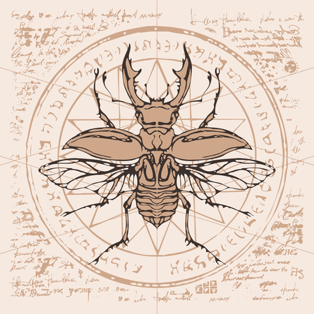 Illustration of a stag-bug on an abstract background of old papyrus or a manuscript with spots, circle, star, magical inscriptions and symbols. Vector banner in retro style Иллюстрация