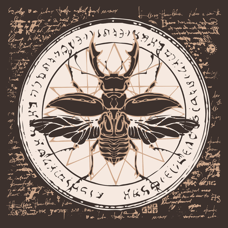 Illustration of a stag-bug on an abstract background of old papyrus or a manuscript with spots, circle, star, magical inscriptions and symbols. Vector banner in retro style. Ilustração