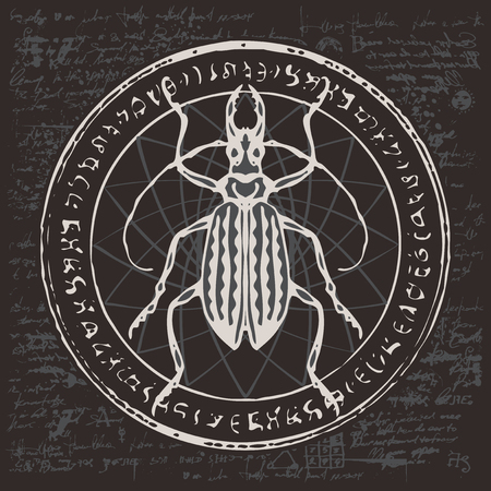 Illustration of a beetle on an abstract background of old papyrus or a manuscript with spots.