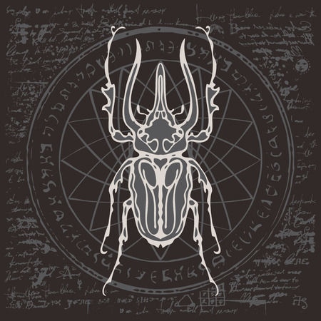 Illustration of a lumberjack beetle on an abstract background of old papyrus or a manuscript with spots, circle, star, magical inscriptions and symbols. Vector banner in retro style Illustration