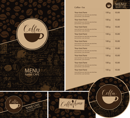 Vector set of design elements for coffee house. Menu, business cards and coasters for drinks with cup of hot coffee on dark background with a pattern of coffee beans and old manuscript