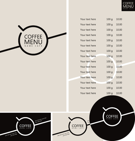 Vector set of design elements for coffee house. Coffee menu, price list, business cards and coasters for drinks