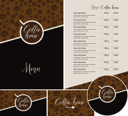 Vector set of design elements for coffee house. Menu, business cards and coasters for drinks with handwritten inscriptions and cup of coffee on dark background with a pattern of coffee beans