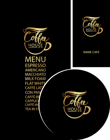 Vector set of design elements for coffee house in black and gold. Corporate identity for menu, business cards and coasters for drinks with logo in form of coffee cup and letterings on coffee theme