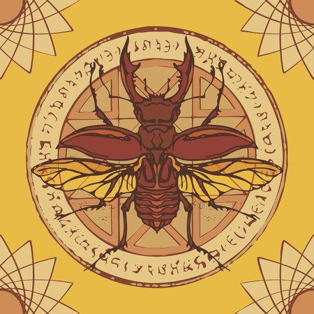 Illustration of a stag-beetle on a circle with an octagonal star, magical inscriptions and symbols. Vector abstract banner in retro style