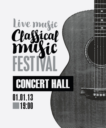 Vector banner for the festival of live music with the inscription Classical music and guitar in retro style on light background