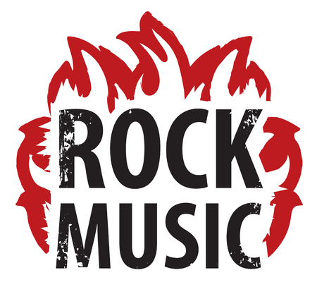 A Vector banner or icon with the inscription Rock music in the fire.