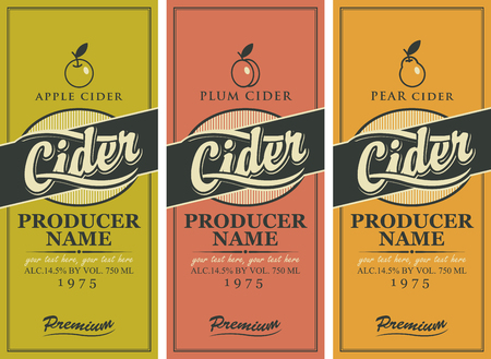 Vector set of labels for various types of cider. Three labels for a cider in the square frame with apple, plum and pear. Vectores