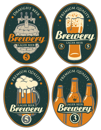 Set of vector labels or banners for lager beer and brewery, with calligraphic inscription on old paper background in oval frame
