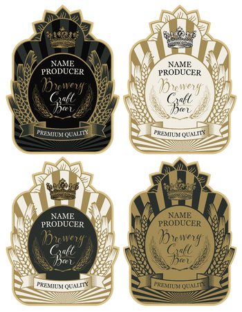 Set of labels with wheat ears, crown and handwritten inscriptions in figured frames, vector labels for craft beer and brewery in retro style. Banque d'images - 98718997