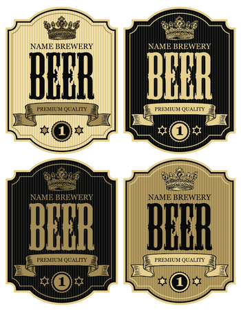 Set of vector labels for beer with crown and ribbon in figured frames on striped background in retro style
