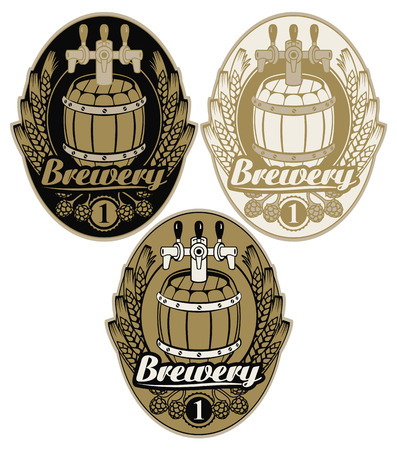 Set oval labels for brewery with beer keg, coat of arms, ears of wheat, hops and calligraphic inscription. Illustration