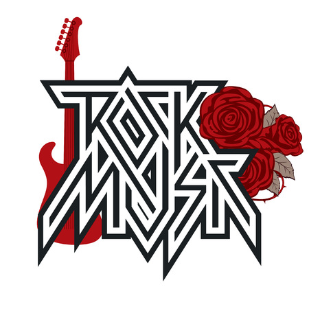 Rock music - vector logo, emblem, label, badge or design element with red roses, guitar and barbed wire. Creative lettering for t-shirt in modern style isolated on white background