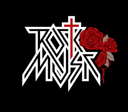 Rock music - vector logo, emblem, label, badge or design element with cross, red roses, barbed wire and blood drips. Creative lettering for t-shirt in modern style on black background